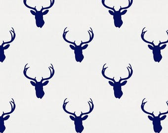 Navy Deer Silhouette Organic Fabric - By The Yard - Boy / Girl / Gender Neutral