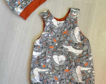Romper and head with foxes Newborn to 6 years