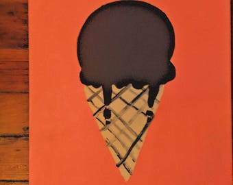 Chocolate Ice Cream Cone with Coral Painting
