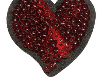 Red Sequins Heart Patch 5.5cm
