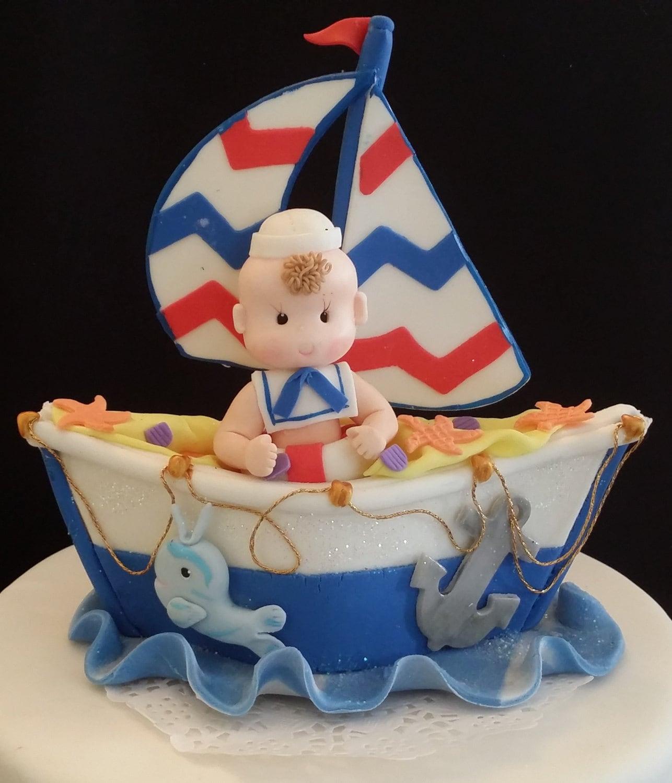 Nautical Cake Topper Sailor Cake Topper Sailboat Cake