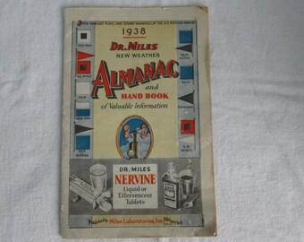 1938 Dr. Miles New Weather Almanac and Handbook