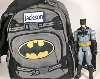 Pottery Barn Kids Large Batman backpack, Personalized boys backpack, Monogrammed Backpack, Back to School, Embroidered Backpack