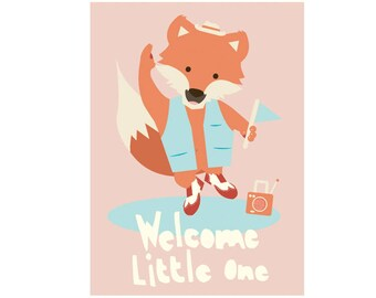 Babyshower card - Welcome little one!  - cute dancing fox - boy and girl babyshower card - pink and blue