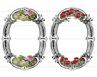 INSTANT DOWNLOAD Vintage Frames-Flowers Black Frames Red Flowers Roses Pink And White Roses Oval Frames Printable Digital Scrapbook Frames