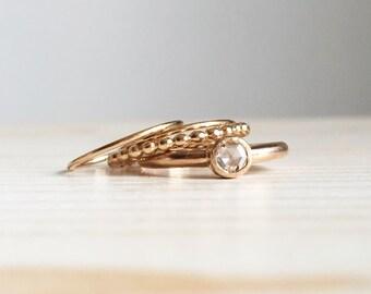 Anello con diamante taglio rosetta + Set di anelli sottilissimi in oro rosso lucido 18k - RINGS KIT