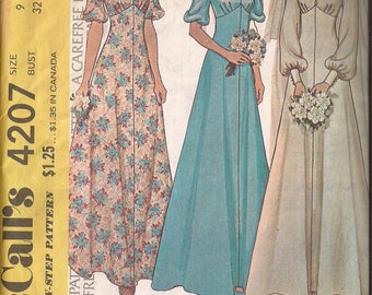 McCalls 4207 Misses Bride and Bridesmaid Dress, Size 9, Bust 32 and Size 14, Bust 36 Vintage 1974