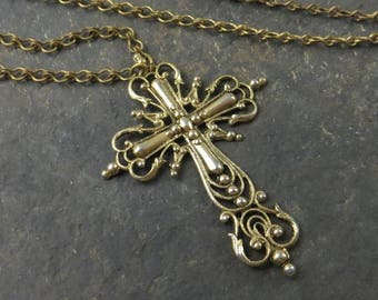 1928 Filigree Cross Pendant with Chain