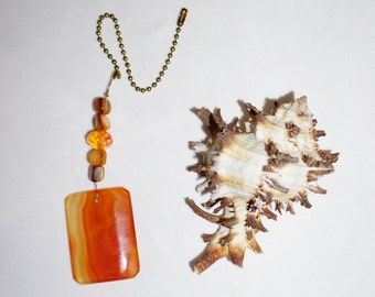 Bright Burnt Orange,  Agate Ceiling Fan Pull,  Stone Fan Pull,  Crystal Fan Pull,  Handcrafted Gifts,  Unique Housewarming Gift
