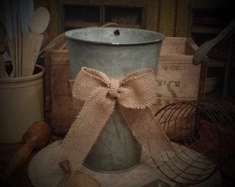 Vintage Galvanized Burlap Bow Sap Bucket~