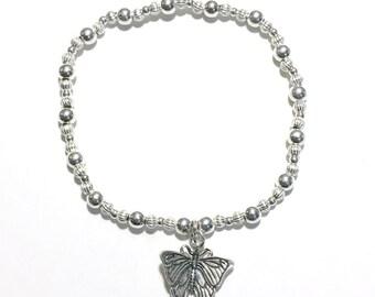 Sterling Silver Beaded Butterfly Bracelet