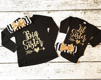 Big Sister Little Sister set (leg warmers /headband separate)  in Gold Glitter photo prop coming home outfit birth announcement #1