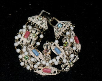 Vintage 5 Strand White Bead and Colorful Rhinestone Bracelet 7 inch