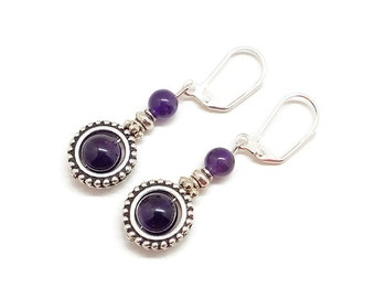 Amethyst Earrings, Amethyst Drop Earrings, Amethyst Dangle Earrings, Amethyst Jewelry, Gemstone Earrings, Birthstone Earrings, Plum Earrings
