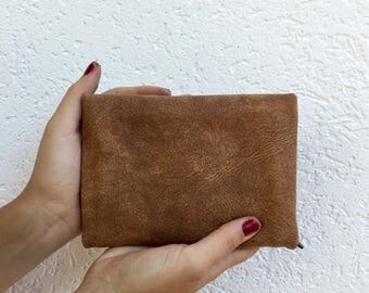 Brown leather wallet,Brown wallet women,Washed brown leather purse,Brown money wallet women,Zipper leather wallet