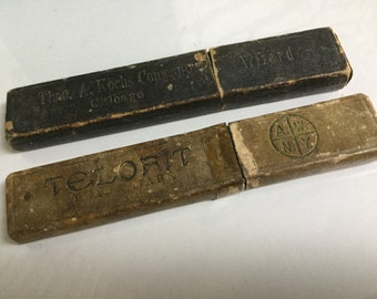 Antique pair of shaver razor boxes  Telofit /Theo Kochs company