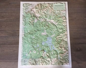 Vintage Hubbard 3-D relief map Yellowstone National Park