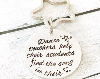 Gift for dance teacher- Hand stamped keychain-Dance keychain - Dance recital gift - Dance teacher - Dance keychain - Inspirational keychain