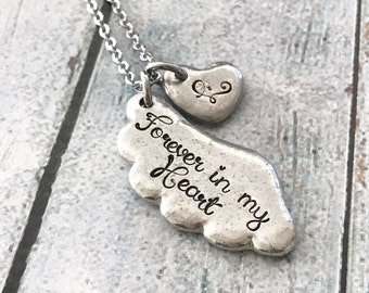 Memorial necklace - Hand stamped necklace - Loss necklace - Remembrance jewelry - Memorial necklace - Forever in my heart - Loss necklace