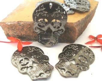 Skull Charms/Pendants,5pcs,Gun metal grey metal