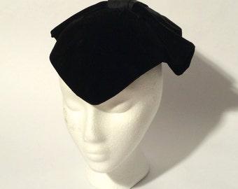 Vintage 1950s Black Velvet Formal Talbert NYC Hat with Large Bow at Back