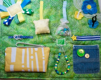 Batik Greens, Blues and Yellow Fidget, Sensory, Activity Quilt Blanket