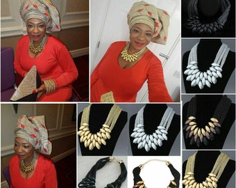 Chain Pendant Statement Bib Necklace (Available in 4 Colours)
