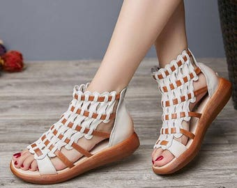 2 Colors! New Style Handmade Women Flatform Sandals, Flat Leather Sandals,Weave Sandals,Summer shoes