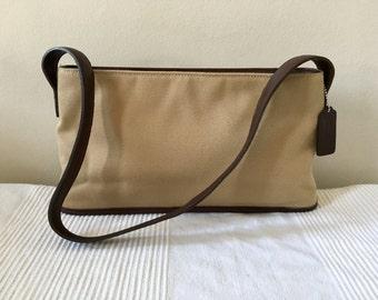 Vintage COACH Beige Canvas Leather Trim Satchel Shoulder Bag Purse