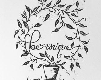 Be Unique Fine Art Print • Linocut Relief Print • Limited Edition