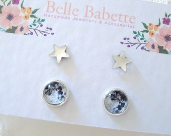 Moon and Stars Posts, Little Space Earrings, Galaxy Jewelry, Dainty Celestial Jewelry, Gift for Her