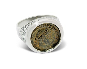 Ancient coin jewelry-ancient coin ring-Roman bronze coin of Constantine dynasty-925 sterling silver.FREE SHIPPING.