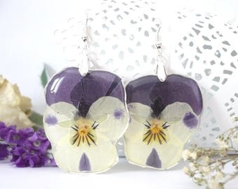 Pansy Earrings - Pansy Jewelry - Real Flower Jewelry - Real Flower Earrings - Pressed Flower Earrings - Botanical Jewelry - Pansies Earrings