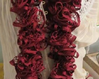 Handmade Crocheted Ruffle Scarf Cranberry