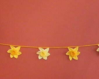 Hand made crochet daffodil garland