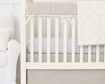 Easton's Linen Bumperless Baby Bedding  Crib Set Vintage Linen & Ivory   Teething Guard   Taupe, Linen, Ivory, Gender Neutral Crib Bedding