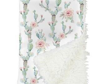 Desert Cactus Bloom Baby Blanket | Cactus, Girl Cactus, Floral Cactus, Mint, Blush, Girl Crib Blanket | Girl Cactus Nursery