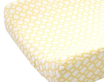 Yellow and White Changing Pad Cover | Ryan's Yellow and Gray Collection