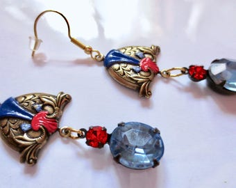 Art Nouveau earrings Victorian earrings vintage style light sapphire blue crystal Art Deco earrings long drop Edwardian gold filled hooks