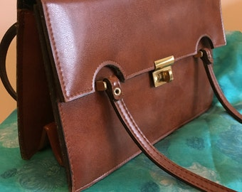 1960s Freedex Brown Leather Handbag