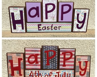 4th of July blocks - reversible