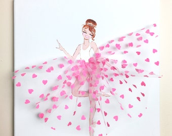 Ballerina Nursery Wall Art, Girl's Room Decor, Dancer in Pink Tutu Art, Ballet Dancer Painting
