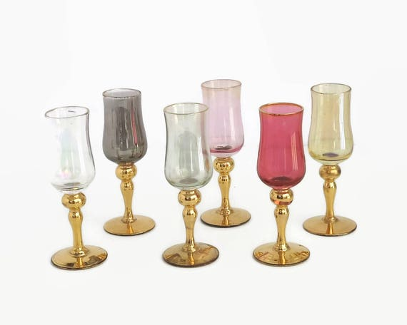 6 mid century stemmed shot or liqueur glasses in different iridescent colors with gilt stems, still with original stickers, hand made Japan