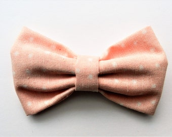Bow| Bow Brooch| Pink Bow| Bow with Polkadots| Fabric Bow