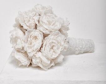 Bridal Bouquet, White Wedding Bouquet, Fabric Bouquet, Wedding accessories, Ivory Bouquet, bridal accessories, Bridal Flowers
