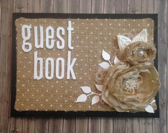 Small shabby country chic guest book