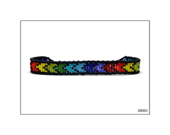 Macrame Bracelet with beads - Multicolored pattern / BBBB03