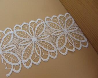 white Vintage flower Lace Fabric /Lace Trim / Solubility Lace / white Lace Trim ,7.8CM wide ,Schiffli Lace,machine-made lace,Chemical Lace