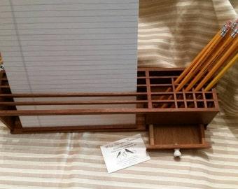 Desk Organizer Vintage 60's Retro Wooden Desk Caddy Miminalistic Clean Line Style Home Decor Office Supply
