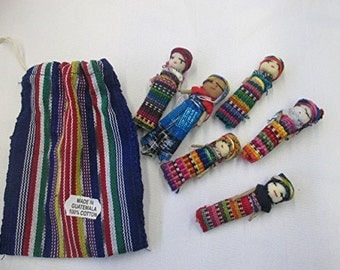 "Worry Dolls - 6 - 2"" worry dolls in a pouch / bag - Handmade"